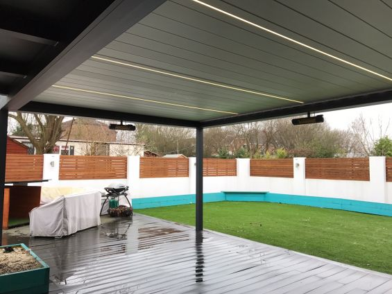 LED Strip Light, Infill, Bespoke, Louvered Roof, Outdoor Living Pod