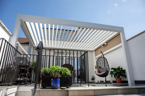 Outdoor Living Pod, Louvered Roof, Canopy, Pergola, Classic, Garden Room, Louvered Canopy, Louvered Pergola, Aluminium Pergola, Gazebo, Caribbean Blinds