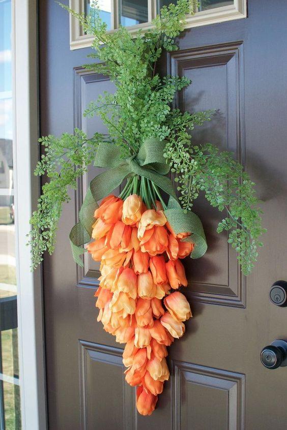 Tulips, Door, Hanger, Wreath, Flowers, Carrots