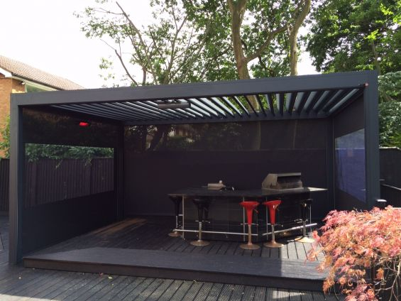 Outdoor Living Pod, Louvered Roof, Pergola, Caribbean Blinds, Outdoor Kitchen