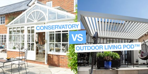 Outdoor Living Pod, Louvered Roof, Canopy, Pergola, Classic, Garden Room, Louvered Canopy, Louvered Pergola, Aluminium Pergola, Gazebo, Conservatory , Extensions, Caribbean Blinds
