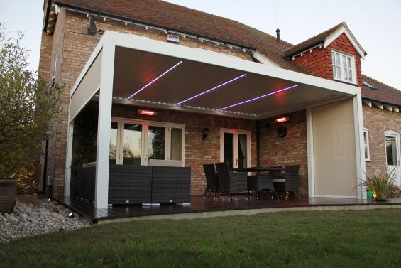 Outdoor Living Pod, Louvered Roof, LED Lights, Pergola, Patio Canopy, Canopy