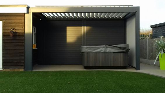 Outdoor Living Pod, Louvered Roof, Pergola, Caribbean Blinds, Hot Tub