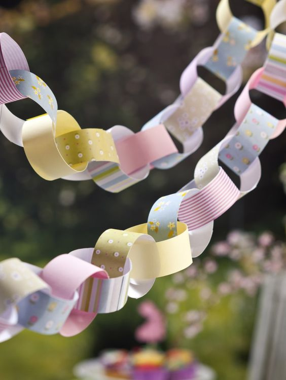 Bunting, Paper Chains, Paper, Garden, Decorations, Easter