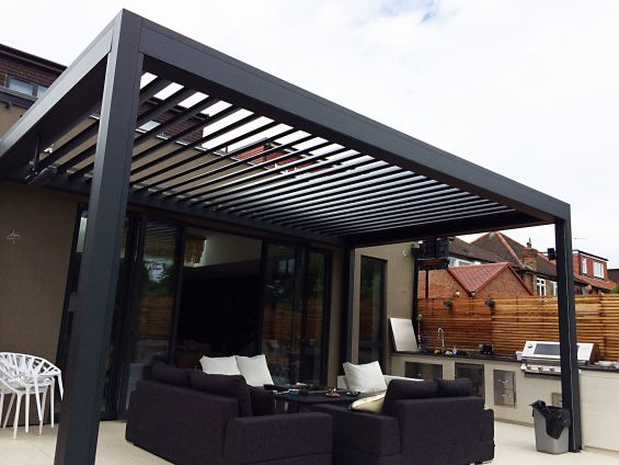 Fire, Pit, Table, Fire Table, Outdoor Living Pod, Louvered Roof, Pergola, Canopy