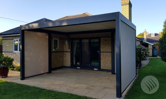 Outdoor Living Pod, Outdoor Living, Pod, Louvered Roof, Cambridge