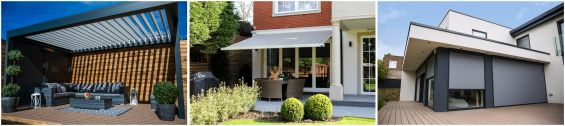 External Blinds, External Shading, Blinds, Awnings, Outdoor Living Pods, Louvered Roof, Pergola, Canopy, Sun Awning, Garden Awning, Patio Awning