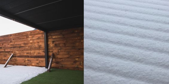 Outdoor Living Pod, Louvered Roof, Pergola, Snow, Frost