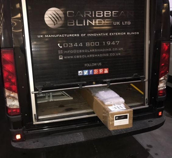 Roller Shutter for easy loading on Caribbean Blinds vans