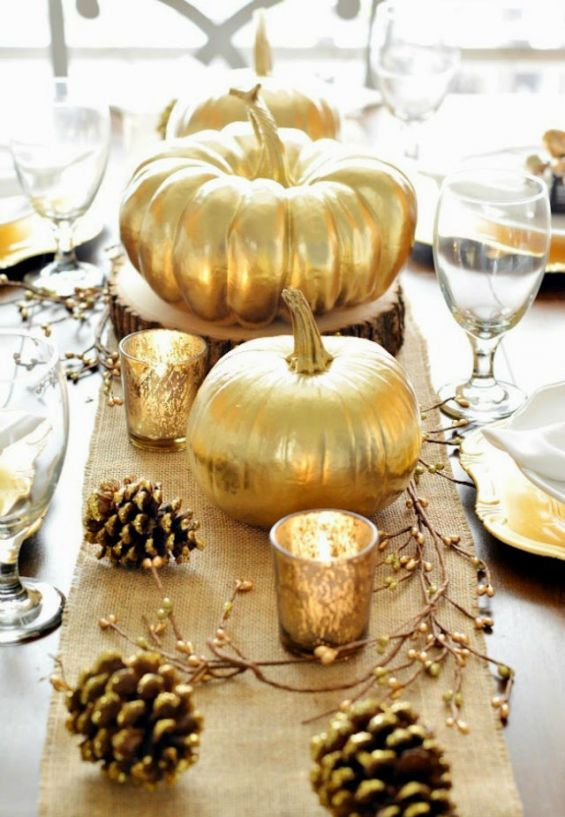 Halloween, Pumpkin, Gold, Table Decoration