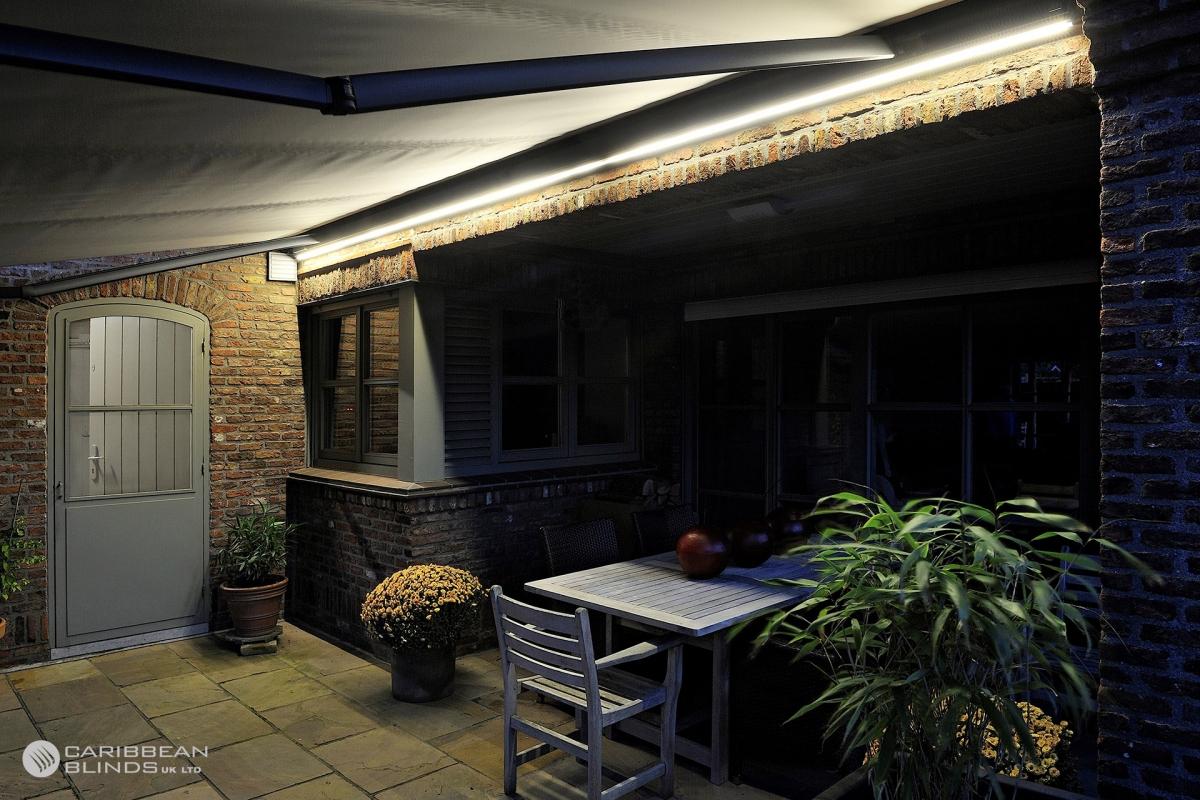 Patio Awning | Single Storey | Caribbean Blinds | LED Lighting | Evening